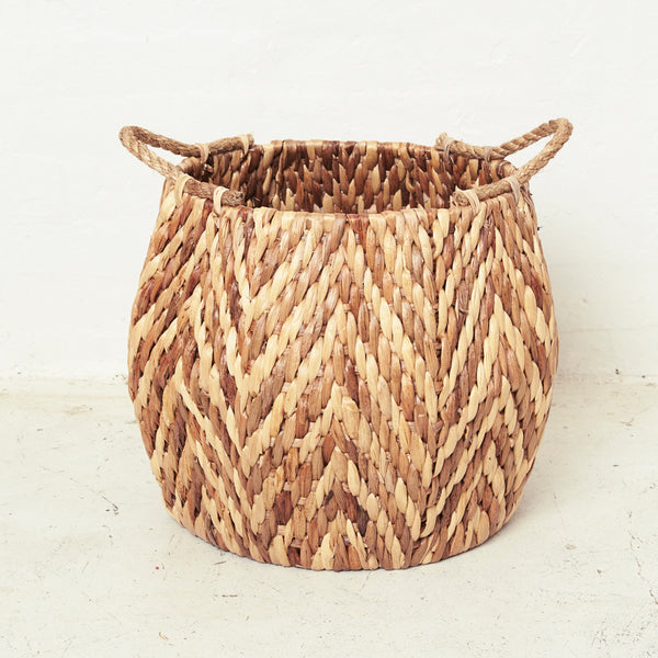Waterhyacinth Hexagonal Basket with Rope Handles - BACKORDER - Delivery Mid October - Sarah Urban