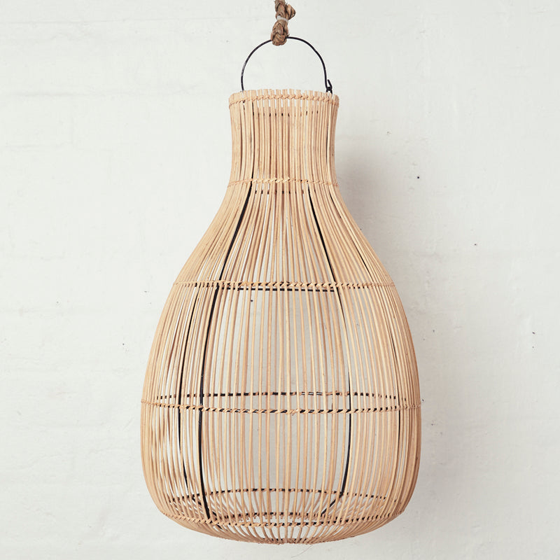 Handwoven Rattan Natural Drop Light Shade - Sarah Urban