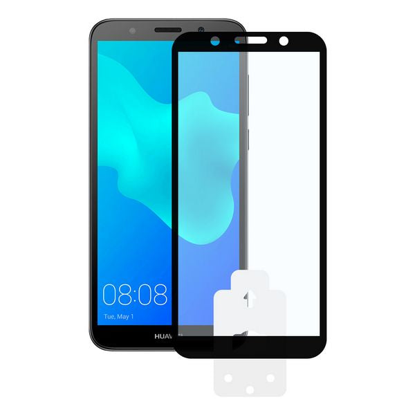 Tempered Glass Mobile Screen Protector Huawei Y5 2018 KSIX 2.5D Black