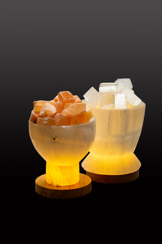 Selenite Fire Bowl Lamps