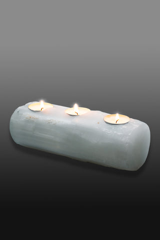 Selenite candle holder 3 holes