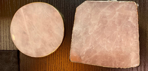 Rose Quartz - flat with plated bronzed rim