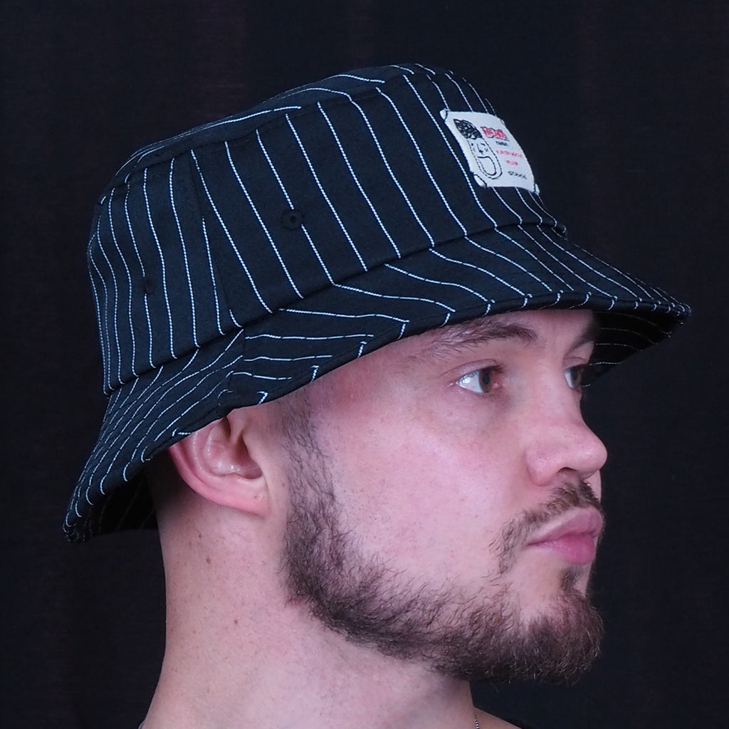 Bucket Hat with White Pinstripe