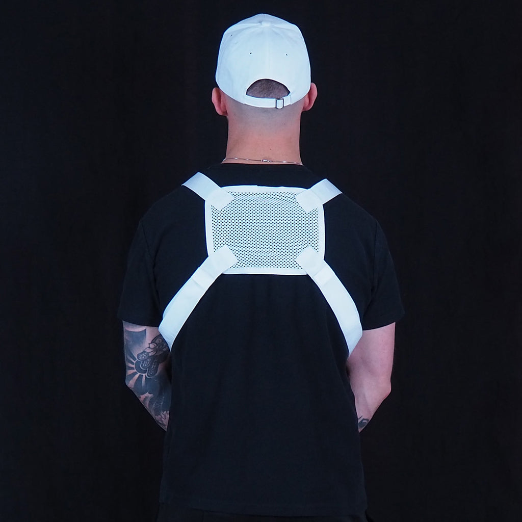 White Chest Rig Bag From Behind