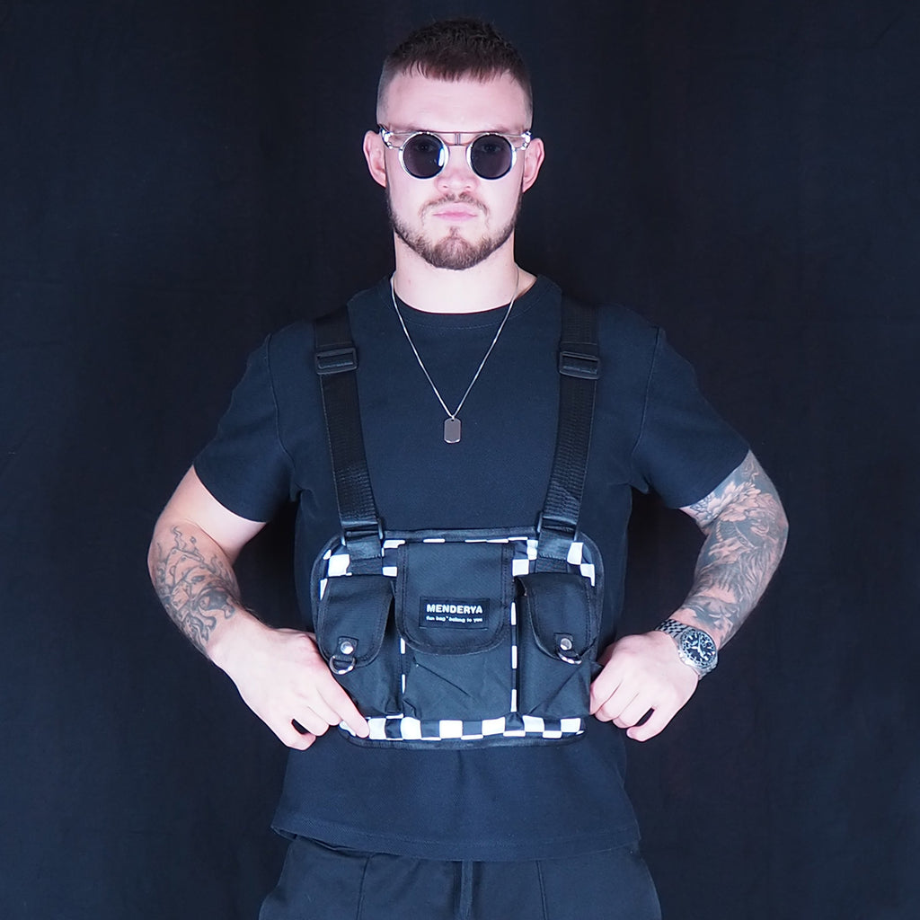 Black & White Chequered Chest Rig Bag