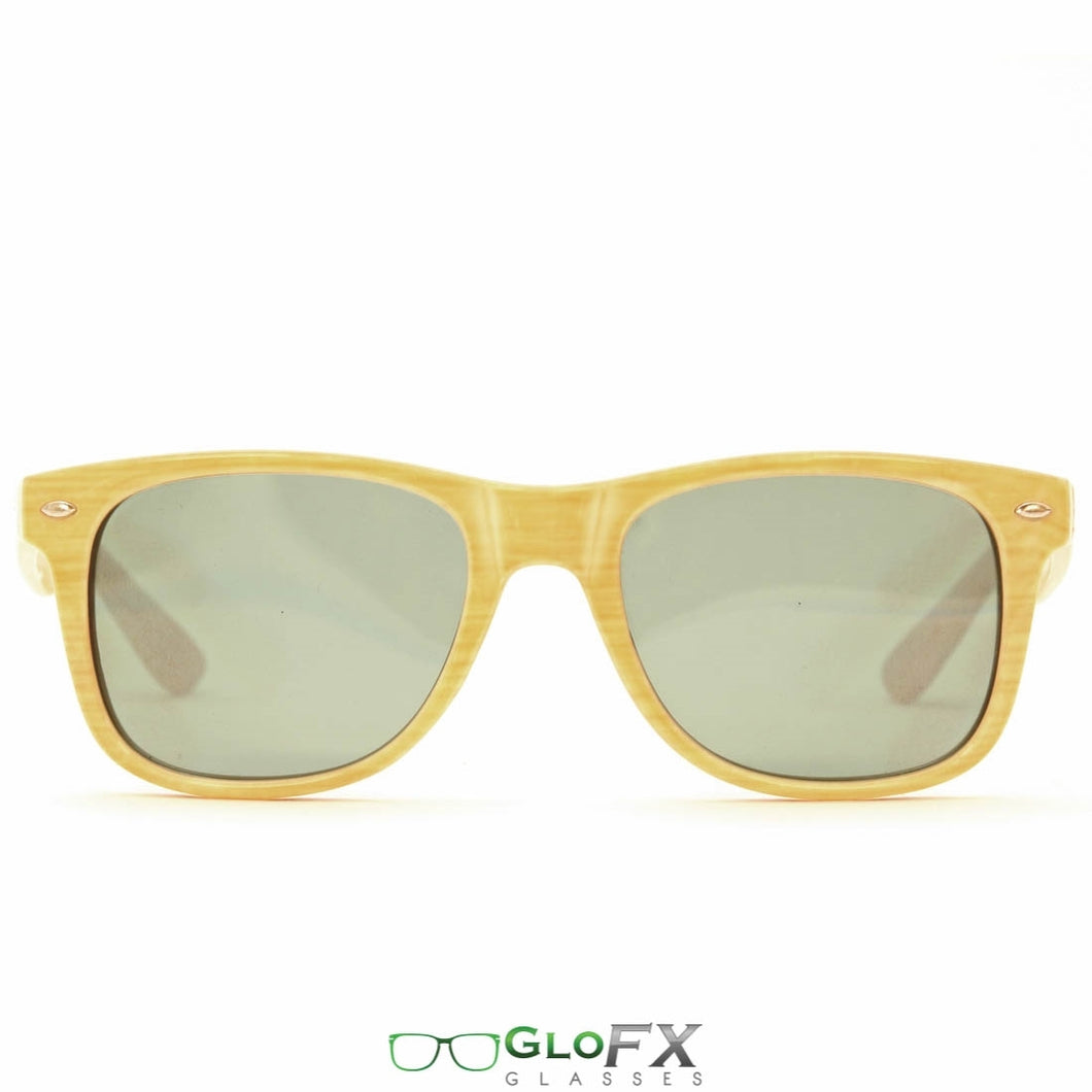 Bamboo Frames with Emerald Tinted Lenses - Ultimate Diffraction Glasses, by GloFX.