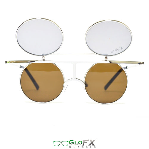 'Vintage Flip Round' Diffraction Glasses with Silver Metal Frames and Gold Mirror Lenses, by GloFX .