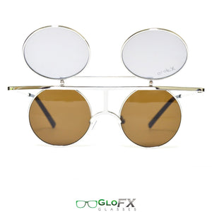 Vintage Flip Round Diffraction Glasses and Sunglasses with Silver Metal Frames and Gold Mirror Lenses, by GloFX .