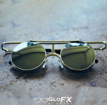 Load image into Gallery viewer, Vintage Flip Round Diffraction Glasses and Sunglasses with Silver Metal Frames and Gold Mirror Lenses, by GloFX .