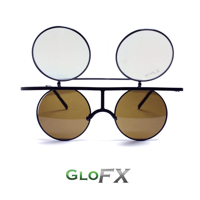 'Vintage Flip Round' Diffraction Glasses with black metal frames and gold mirror lenses by GloFX.