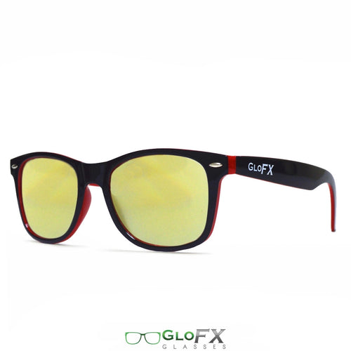 Black & Red Frames with Amber Tinted Lenses - Ultimate Diffraction Glasses, by GloFX.