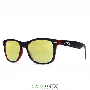 Black & Red Ultimate Frames with Amber Tinted Lenses - Diffraction Glasses, by GloFX.