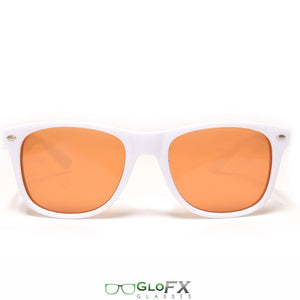 White Frames with Amber Tinted Lenses - Ultimate Diffraction Glasses, by GloFX.