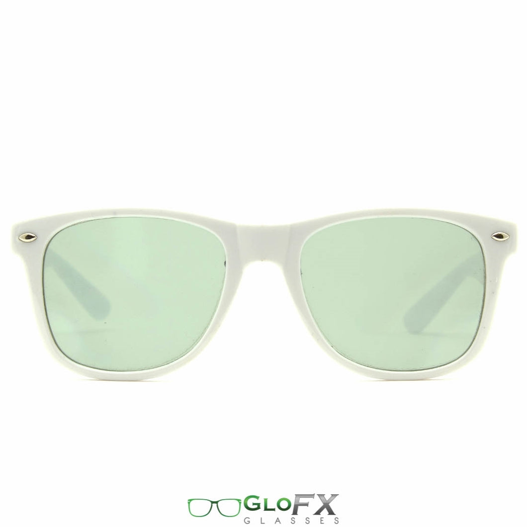 White Frames with Emerald Tinted Lenses - Ultimate Diffraction Glasses, by GloFX.