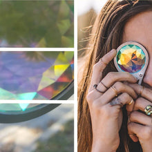 Load image into Gallery viewer, Kaleidoscope Crystal Monocle Necklace with a rainbow 'Wormhole' lens with silver frame, by GloFX.