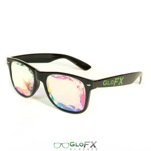Black frame Wayfarer Ultimate Kaleidoscope Glasses with Rainbow Tinted Lenses, by GloFX.