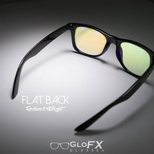 Load image into Gallery viewer, Black frame Wayfarer Ultimate Kaleidoscope Glasses with Rainbow Tinted Lenses, by GloFX.