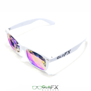 White frame Wayfarer Ultimate Kaleidoscope Glasses with Rainbow Tinted Lenses, by GloFX.