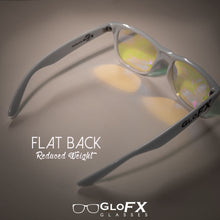 Load image into Gallery viewer, White frame Wayfarer Ultimate Kaleidoscope Glasses with Rainbow Tinted Lenses, by GloFX.
