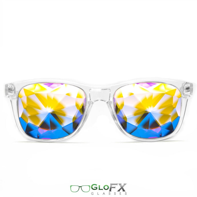 Clear frame Wayfarer Ultimate Kaleidoscope Glasses with Rainbow Tinted Lenses, by GloFX.