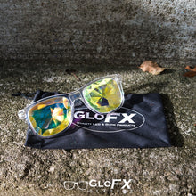 Load image into Gallery viewer, Clear frame Wayfarer Ultimate Kaleidoscope Glasses with Rainbow Tinted Lenses, by GloFX.