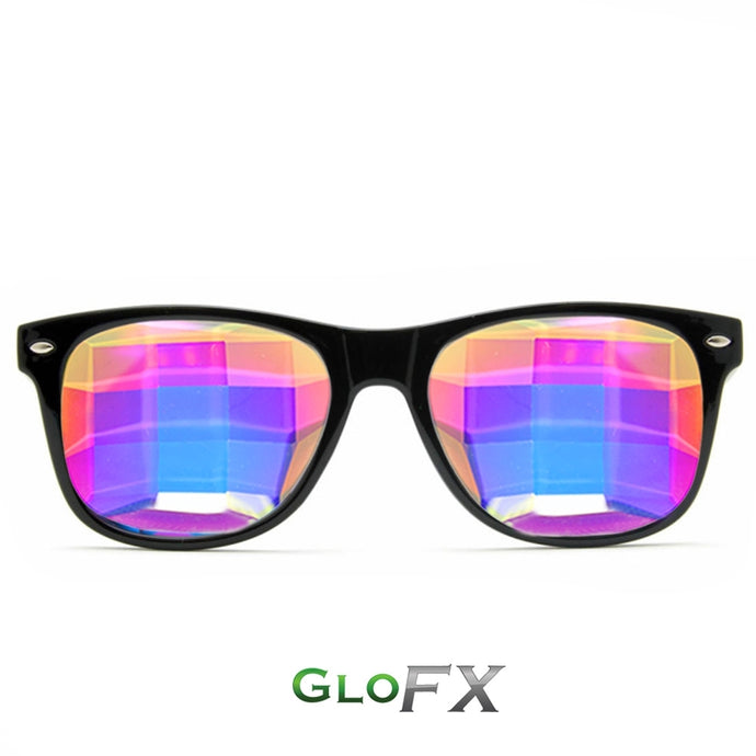 Black frame Wayfarer Ultimate Kaleidoscope Glasses with Rainbow Tinted Bug-Eye Lenses, by GloFX.