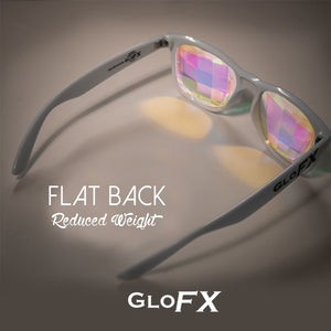 White frame Wayfarer Kaleidoscope Glasses with Ultimate Bug Eye Rainbow Tinted Lenses, by GloFX.