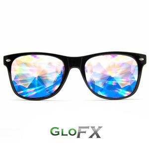 Kaleidoscope & Diffraction Glasses in BlackWayfarer Ultimate Frames, by GloFX.