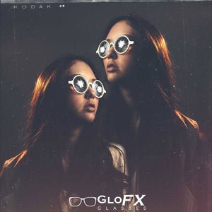 White Frames with Clear Wormhole Kaleidoscope Lenses, by Glo FX.