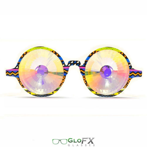 Tribal style frames and Rainbow Wormhole Lenses - Kaleidoscope Glasses (Limited Edition), by GloFX.