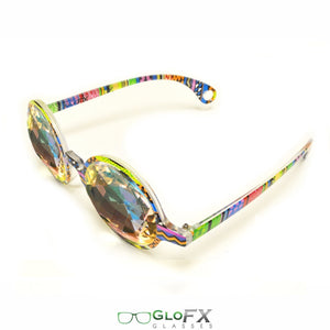 Aztec style frames and Rainbow tinted lenses - Kaleidoscope Glasses, Limited edition, by GloFX.