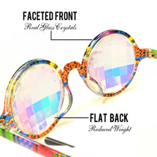 Load image into Gallery viewer, Aztec style frames and Rainbow tinted lenses - Kaleidoscope Glasses, Limited edition, by GloFX.