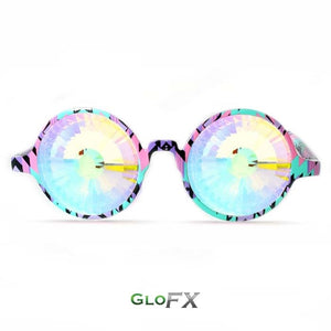 Aztec style frames with Rainbow Wormhole lenses - Kaleidoscope Glasses (Limited edition), by GloFX.