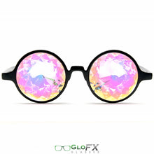 Load image into Gallery viewer, Black Frames and Rainbow Tinted Lenses - Kaleidoscope Glasses, by GloFX.