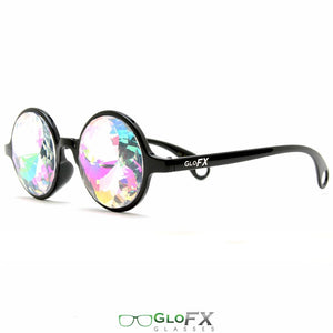 Black Frames and Rainbow Tinted Lenses - Kaleidoscope Glasses, by GloFX.