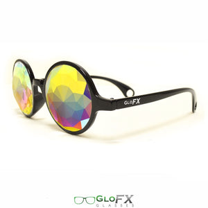 Black Frames with Rainbow Fractal Lenses - Kaleidoscope Glasses, by GloFX.