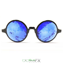 Load image into Gallery viewer, Black Framed Kaleidoscope Glasses with Sapphire Tinted Lenses, by GloFX .