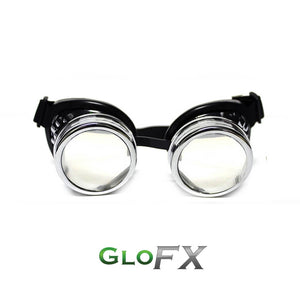 Chrome Diffraction Goggles with Clear Lenses, by GloFX.