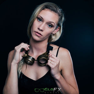 Brass Spike Diffraction Goggles with Clear Lenses, by GloFX.