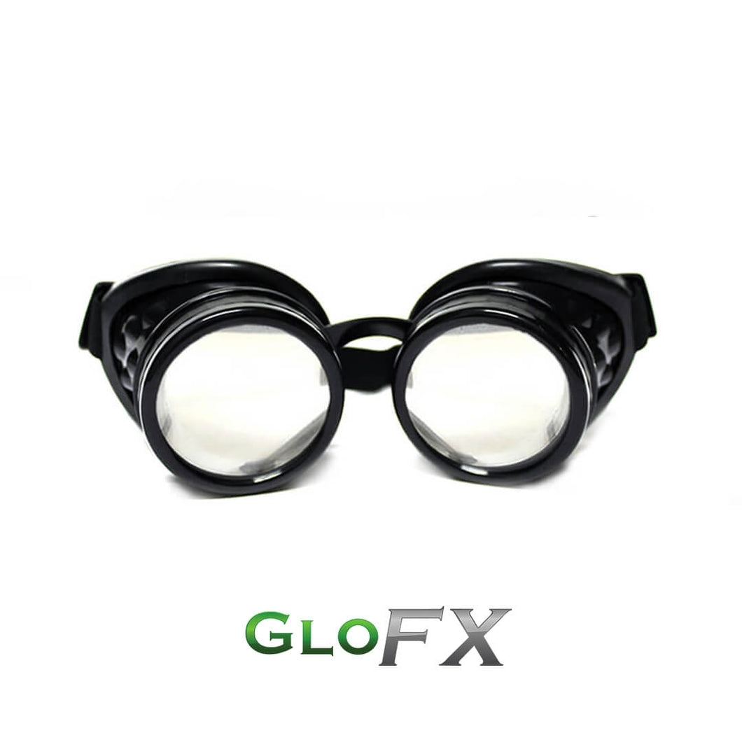 Black Diffraction Goggles with Clear Lenses, by GloFX.