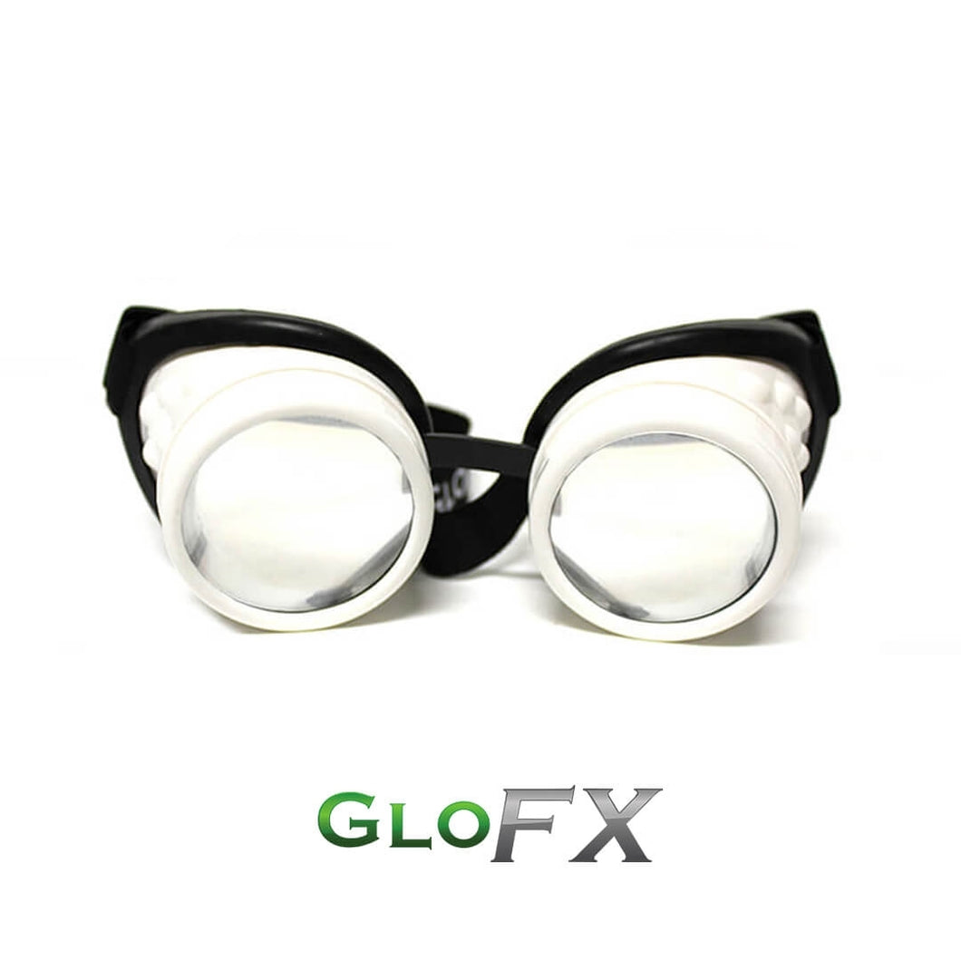 White Diffraction Goggles with Clear Lenses, by GloFX.