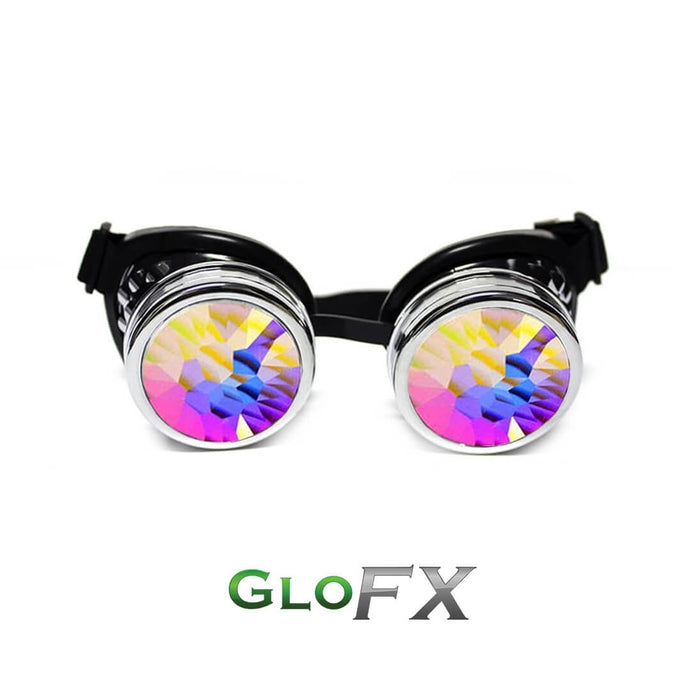 Chrome Kaleidoscope Goggles with Rainbow Fractal Lenses, by Glo FX.