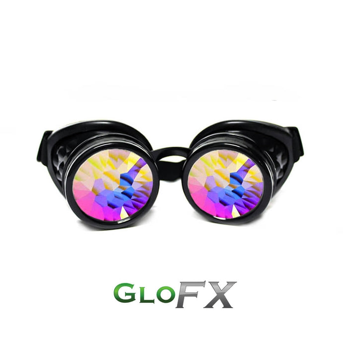 Black Kaleidoscope Goggles with Rainbow Fractal Lenses, by Glo FX.