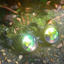 Load image into Gallery viewer, Black Kaleidoscope Goggles with Rainbow Fractal Lenses, by GloFX.