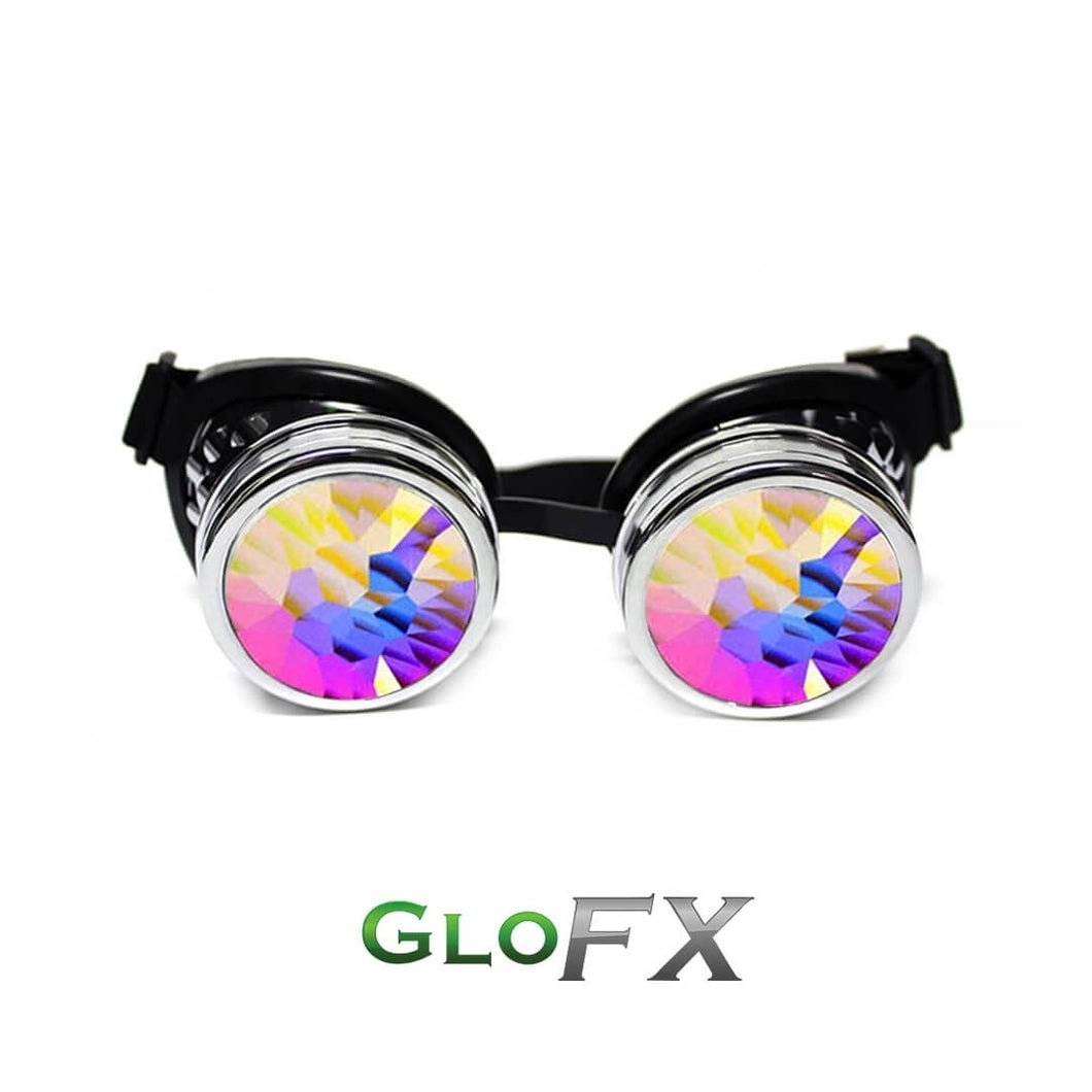 Chrome Style Goggles with: High Strength Diffraction + Kaleidoscope Lenses, by GloFX.