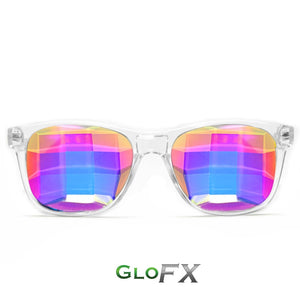 Clear frame Wayfarer Ultimate Kaleidoscope Glasses with Rainbow Tinted Bug Eye Lenses, by GloFX.