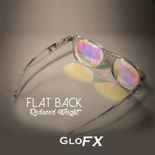 Load image into Gallery viewer, Clear frame Wayfarer Ultimate Kaleidoscope Glasses with Rainbow Tinted Bug Eye Lenses, by GloFX.