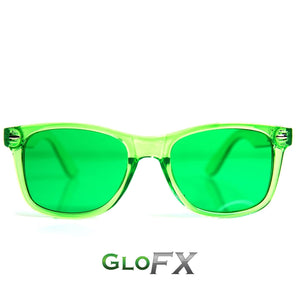 Green Colour Infused Diffraction Glasses, by GloFX.