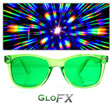 Load image into Gallery viewer, Green Colour Infused Diffraction Glasses, by GloFX.