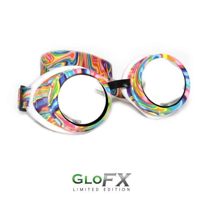 Kandi Swirl Diffraction Goggles with Clear Lenses, by GloFX.